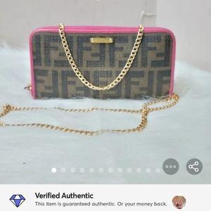 100% Authentic FENDI ZUCCA pvc leather wallet